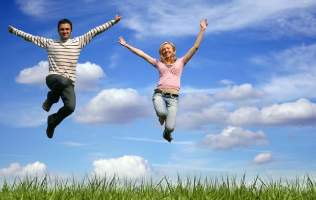 Positive Thinking Jumping for Joy